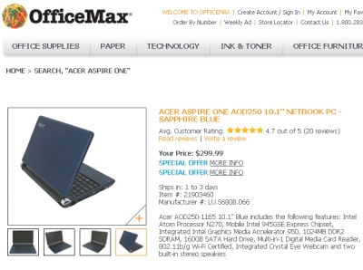 office max aspire one
