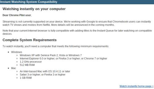 Netflix Chrome OS