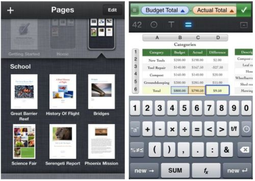 iWork suite for iPhone