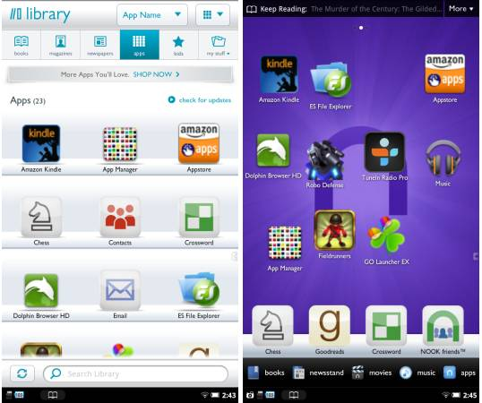 ... apps to your NOOK Tablet home screen, app library - Liliputing