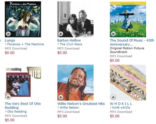 Amazon MP3 $5 albums