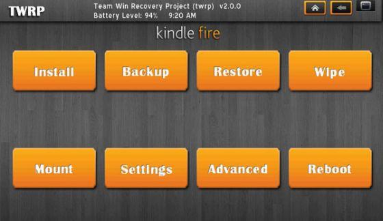 TWRP Kindle Fire skin