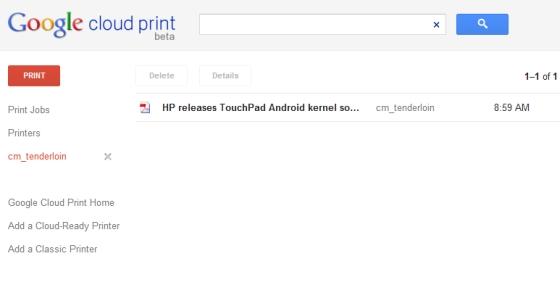 Chrome to Mobile cloud print