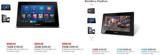 BlackBerry PlayBook pricing