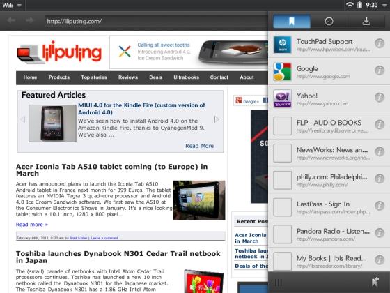 HP webOS web browser