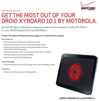Motorola Droid XYBOARD 10.1 software update