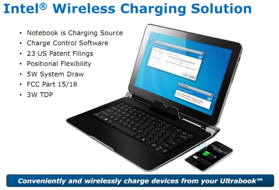 Intel wireless charging for ultrabooks