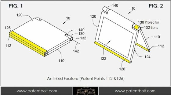 Asus notebook with projector patent application