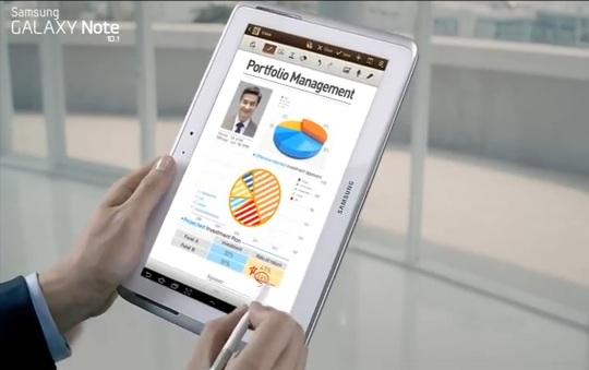 Samsung Galaxy Note 10.1 commercial screenshot
