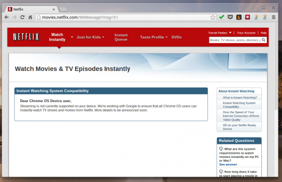 Chrome OS Netflix