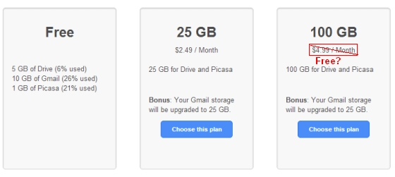 Google Drive 100GB promo