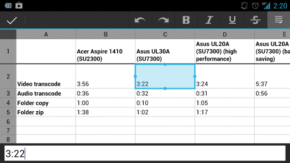 Google Drive spreadsheets (Android)