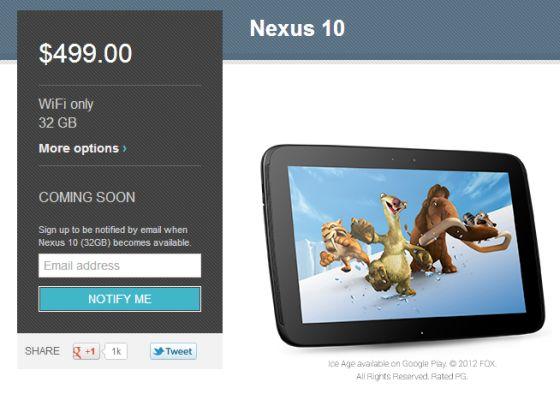 Google Nexus 10 order page