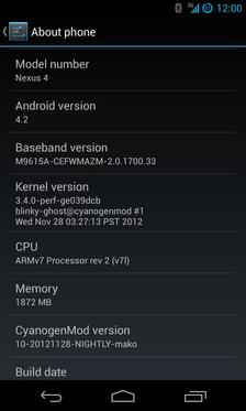 Google Nexus 4 with CyanogenMod 10.1