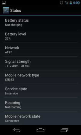 Google Nexus 4 with AT&T 4G LTE