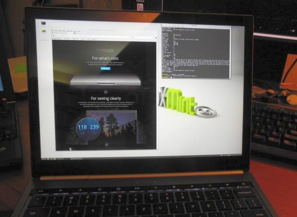 Chromebook Pixel running Linux Mint