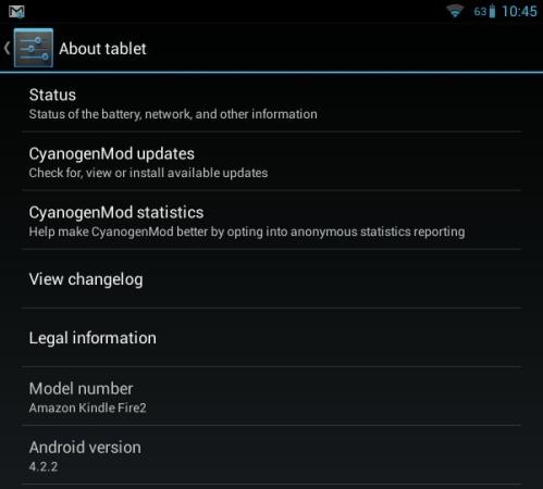 Amazon Kindle Fire 2 with CyanogenMod 10.1