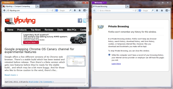 Firefox 20 Private mode