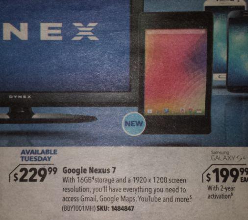 Google Nexus 7 Best Buy ad