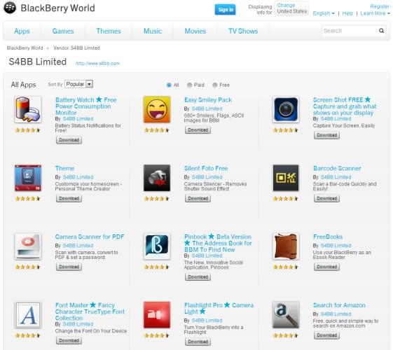 BlackBerry World S4BB apps