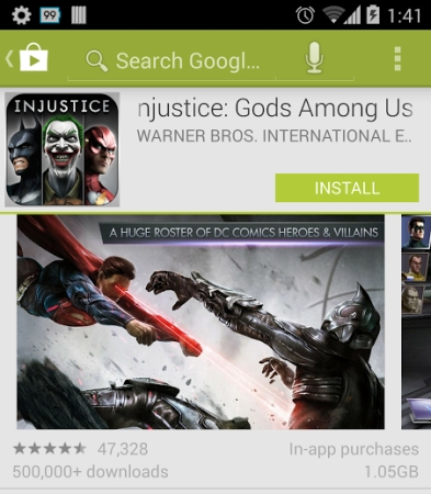 Google Play Store with in-app purchase indicator