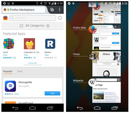 Firefox web apps on Android