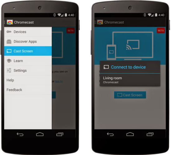 Google brings chromecast screen mirroring to android liliputing - Mirror screen ...
