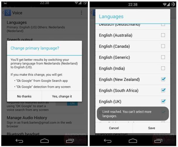 google voice search languages