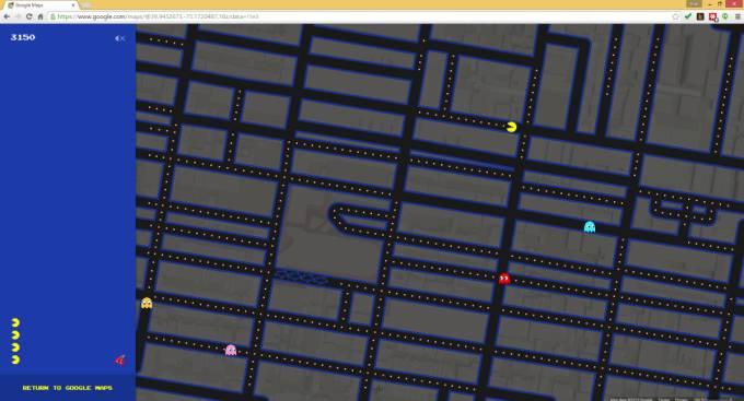 google maps pac man
