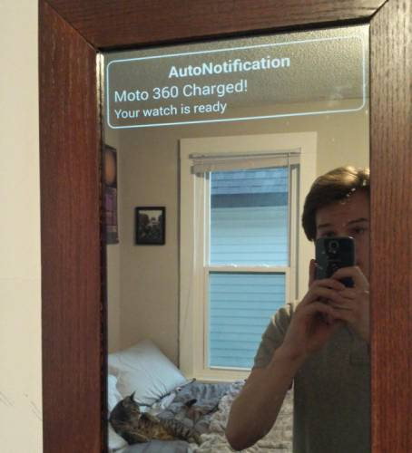 Diy Smart Mirror Superimposes Android Wear Notifications
