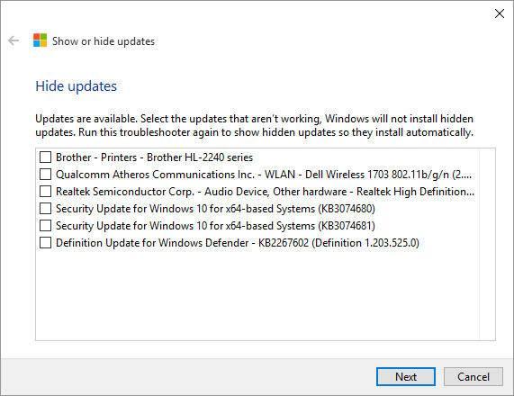 windows update hide