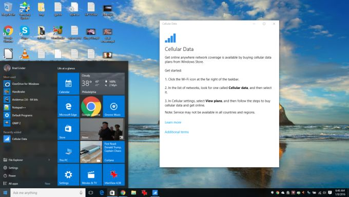 Contract free 4g lte coming to windows 10 pcs thanks to for Window 4g mobile