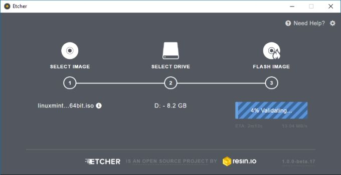 Etcher USB image burner is simple, open source, and cross