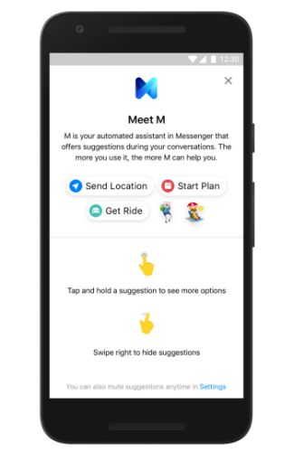 Facebooks m assistant finally arrives in messenger offers its basically the 2017 version of microsofts clippy but instead of it looks like youre writing a letter m can suggest stickers mobile payments spiritdancerdesigns Gallery