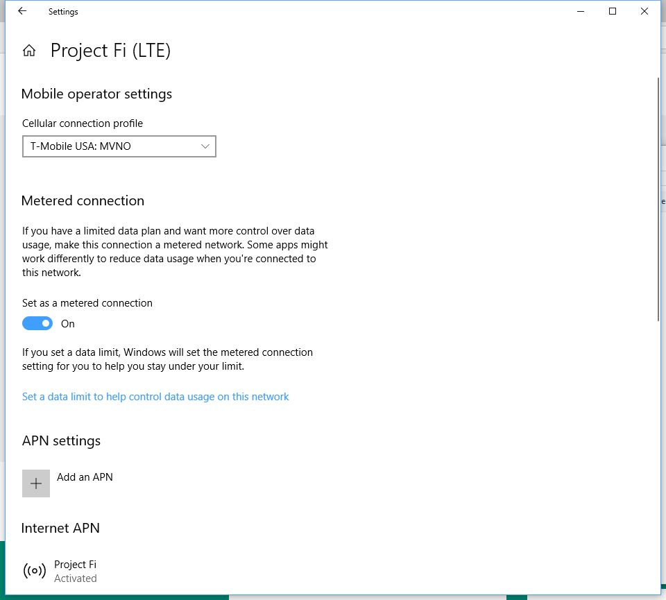 How to use a Project Fi data-only SIM with a Windows 10 PC