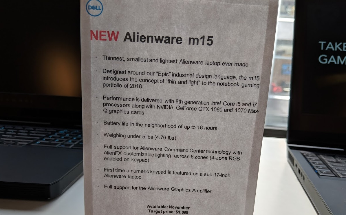 Dell launches Alienware m15: a 4 8 pound, 15 inch gaming laptop