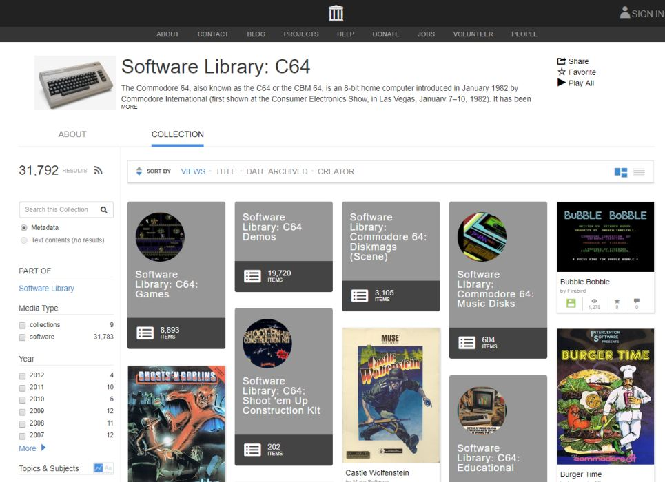 Internet Archive lets you play thousands of C64 games in
