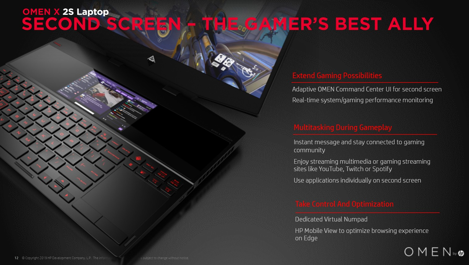 HP Omen X 2S gaming laptop has a second screen above the