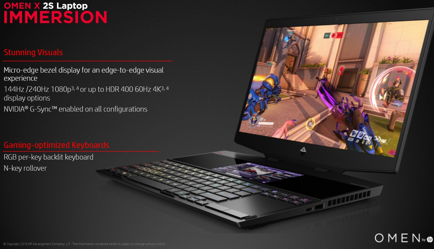 HP Omen X 2S gaming laptop has a second screen above the keyboard