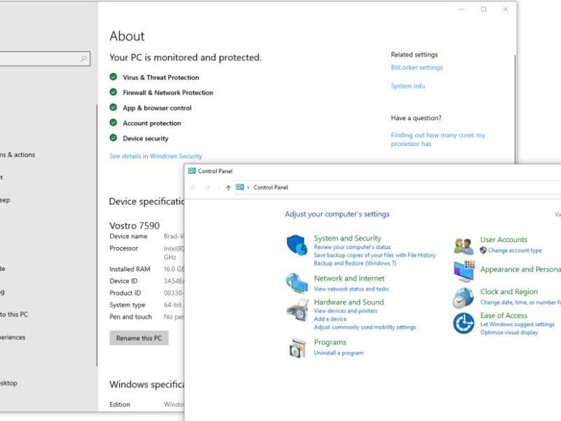 windows 10 settings and control panel
