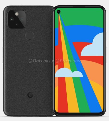Google Pixel 5 leaked render (via OnLeaks and Pricebaba)