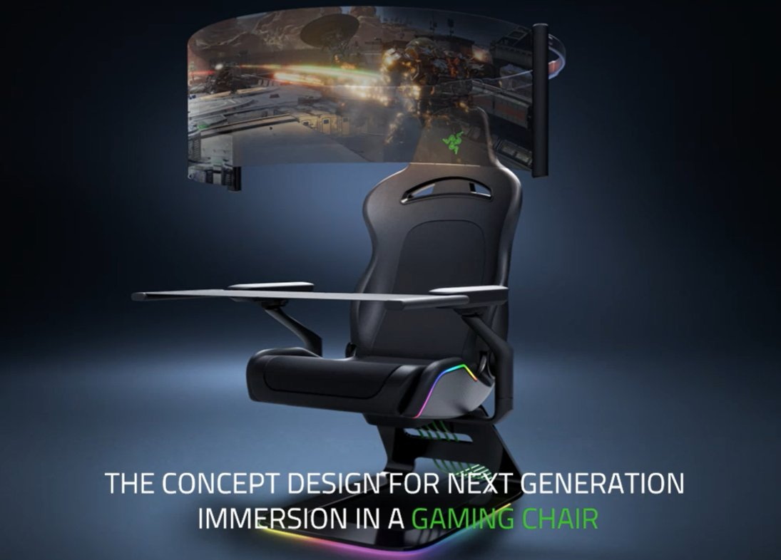 Razer's CES 2021 concepts: a smart mask and a gaming chair with a retractable display